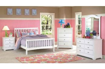 New Classic Bayfront Sleigh Bedroom Set in White Painted Finish 1415