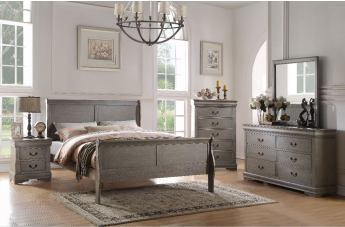 Acme Louis Philippe lll 5pc Panel Bedroom Set in Gray