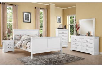 Acme Louis Philippe lll 5pc Panel Bedroom Set in White