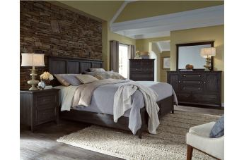 Magnussen Mill River 4-Piece Panel Bedroom Set in Weathered Charcoal