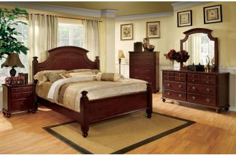 Furniture of America Gabrielle II 4pc Poster Bedroom Set in Cherry