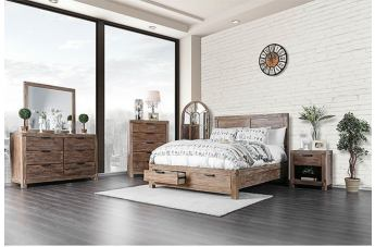 Furniture of America Wynton 4pc Storage Bedroom Set in Weathered Light Oak