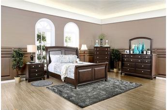 Furniture of America Litchville 4pc Sleigh Bedroom Set in Brown Cherry