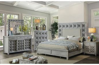 Furniture of America Pantaleon 4pc Panel Bedroom Set in Antique Light Gray