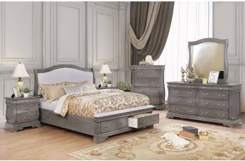 Furniture of America Merida 4pc Storage Platform Bedroom Set in Gray