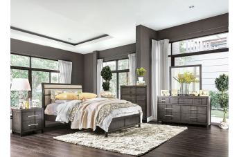 Furniture of America Berenice 4pc Upholstered Platform Bedroom Set in Gray