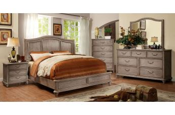 Furniture of America Belgrade II 4pc Platform Bedroom Set in Rustic Natural Tone and Ivory
