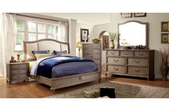 Furniture of America Belgrade II 4pc Upholstered Platform Bedroom Set in Rustic Natural Tone and Ivory