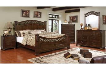 Furniture of America Cervantes 4pc Poster Bedroom Set in Brown Cherry