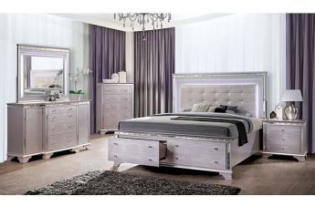 Furniture of America Claudette 4pc Storage Bedroom Set in Silver Rose