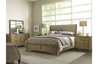 American Drew Evoke 4pc Upholstered Panel Bedroom Set in Barley
