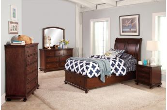 New Classic Youth Jesse 4pc Sleigh Storage Bedroom Set in Cherry Brown