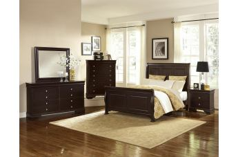 All-American French Market 4pc Sleigh Bedroom Set in Antique Merlot