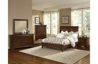 All-American French Market 4pc Low Profile Sleigh Bedroom Set in French Cherry