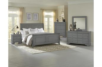 All-American French Market 4pc Sleigh Bedroom Set in Zinc