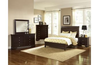 All-American French Market 4pc Low Profile Sleigh Bedroom Set in Antique Merlot