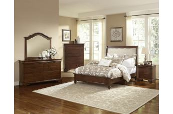 All-American French Market 4pc Upholstered Bedroom Set in French Cherry