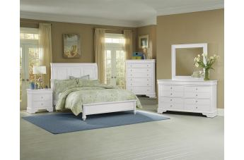 All-American French Market 4pc Low Profile Sleigh Bedroom Set in Soft White