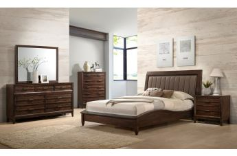 New Classic Furniture Windsong 4-Piece Bedroom Set in Walnut