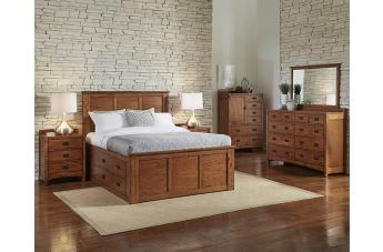 A-America Furniture Mission Hill 4-Piece Captain Bedroom in Harvest