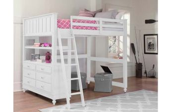 Hillsdale Furniture Lake House 4pc Loft Bedroom Set in White PROMO