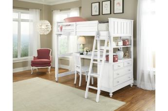 Hillsdale Furniture Lake House 4pc Loft with Desk Bedroom Set in White PROMO