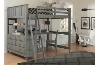 Hillsdale Furniture Lake House 4pc Loft with Desk Bedroom Set in Stone PROMO