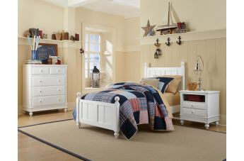 Hillsdale Furniture Lake House 4pc Kennedy Panel Bedroom Set in White PROMO