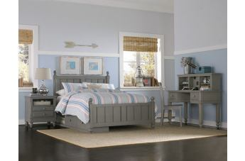 Hillsdale Furniture Lake House 4pc Kennedy Panel with Storage Bedroom Set in Stone PROMO