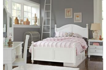 Hillsdale Furniture Lake House 4pc Payton Arch with Storage Bedroom Set in White PROMO