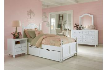 Hillsdale Furniture Lake House 4pc Payton Arch with Trundle Bedroom Set in White PROMO