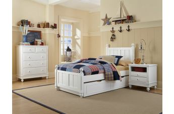 Hillsdale Furniture Lake House 4pc Kennedy Panel with Trundle Bedroom Set in White PROMO