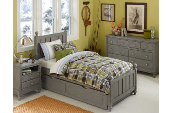 Hillsdale Furniture Lake House 4pc Kennedy Panel with Trundle Bedroom Set in Stone PROMO