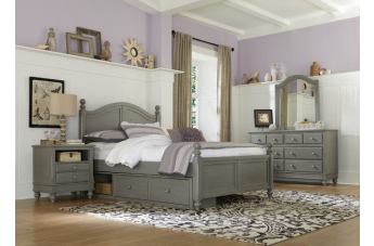 Hillsdale Furniture Lake House 4pc Payton Arch with Storage Bedroom Set in Stone PROMO