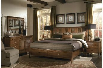 Kincaid Cherry Park Solid Wood Sleigh Storage Bedroom Set CODE:UNIV20 for 20% Off