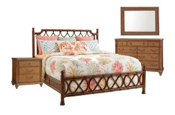 Tommy Bahama Bali Hai 4 Piece Island Breeze Ratan Bedroom Set