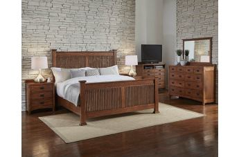 A-America Furniture Mission Hill 4-Piece Slat Bedroom in Harvest