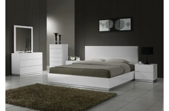 J&M Naples Platform Bedroom Set in White Lacquer