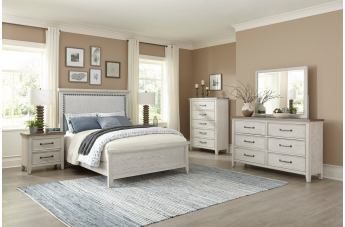 Klaussner Willow 4pc Panel Bedroom Set in White