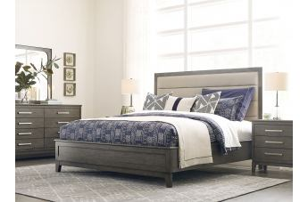 Kincaid Furniture Cascade Ross 4pc Upholstered Panel Bedroom Set in Sable