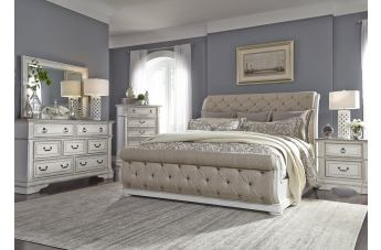 Liberty Furniture Abbey Park 4pc Upholstered Sleigh Bedroom Set in Antique White EST SHIP TIME IS 4 WEEKS