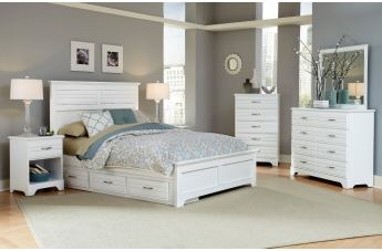Carolina Furniture Platinum Panel Storage Bedroom Set in White