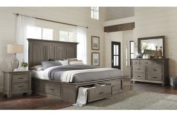Samuel Lawrence Chatham Park 4pc Storage Bedroom Set in Warm Grey
