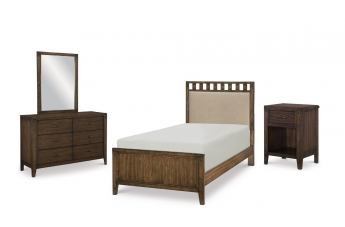 Legacy Classic Kids Sawyers Mill 4-Piece Upholstered Slat Bedroom Set in Oiled Oak