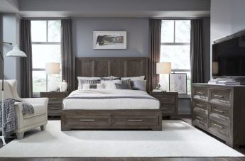 Legacy Classic Facets 4pc Shelter w/ Storage Bedroom Set in Mink