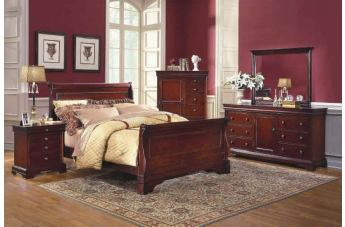 New Classic Versaille Sleigh Bedroom Set in Bordeaux PROMO