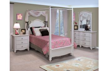 New Classic Victoria Youth Poster Bedroom Set in White 05-621-YP-Set