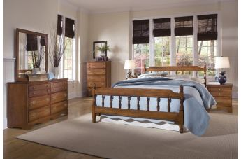 Carolina Furniture Common Sense 4 Piece Spindle Bedroom Set in Cherry