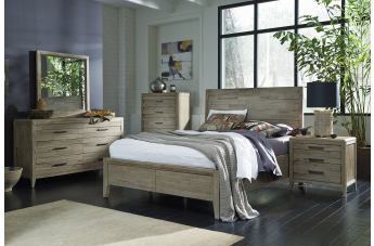 Casana Furniture Harbourside 4-Piece Panel Bedroom Set in Weathered Acacia