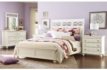 American Drew Lynn Haven 4-Piece Sleigh Bedroom Set in Dover White